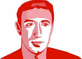 May, 2019: Facebook Ceo Mark Zuckerberg Vector Portrait