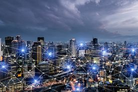 Network Business Connection System On Osaka Smart City Scape In Background. Network Business Connect