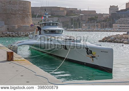 Marseille, France - January 31, 2016: Fast Interceptor Trimaran Brigitte Bardot Sea Shepard Conserva