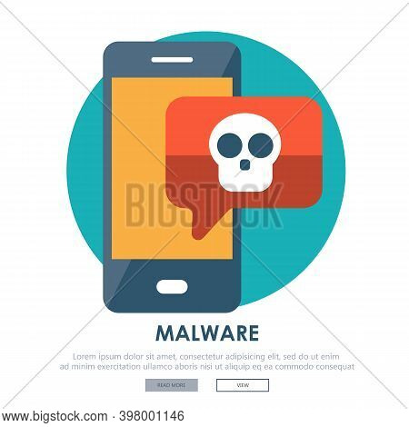 Document With Malware In Laptop. Concept Of Virus, Piracy, Hacking And Security. Website Banner Of E