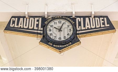 Cannes, France - February 1, 2016: Claudel De Normandie Clock At Forville Market Hall In Cannes, Fra