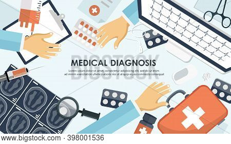 Therapy Concept.medical Flat Background,health Care,first Aid. International Health Protection,insur