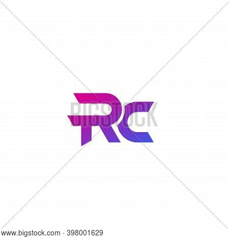 Rc Letters Logo Design On White, Eps 10 File, Easy To Edit