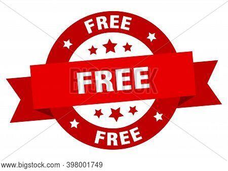 Free Ribbon. Free Round Red Sign. Free