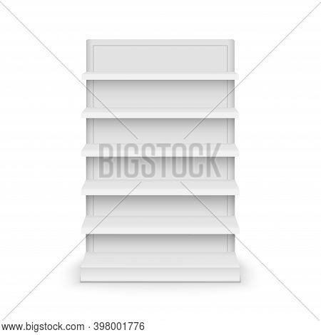 Shelf Store Supermarket Mockup Stand. Retail Shelf Display Empty Vector Rack Shelves
