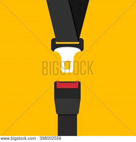 Car Safety Belt. Seatbelt Safe Buckle Icon Isolated. Security Strap Fasten Accident Insurance