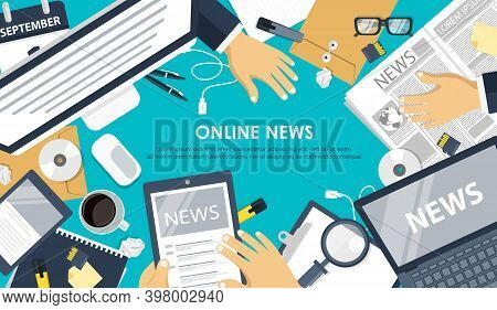 On Line News Concept. Information And Newsletter Flat Banner. Business And Market News. Flat Vector