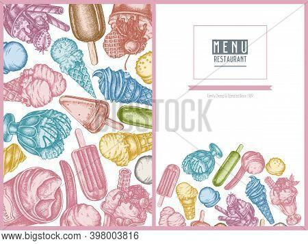 Menu Cover Design With Pastel Ice Cream Bowls, Ice Cream Bucket, Popsicle Ice Cream, Ice Cream Cones