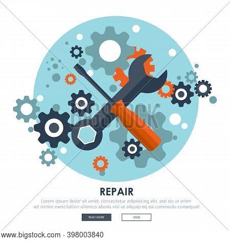 Flat Repair Icon. Mechanic Service Concept. Web Site Creating. Flat Vector Illustration