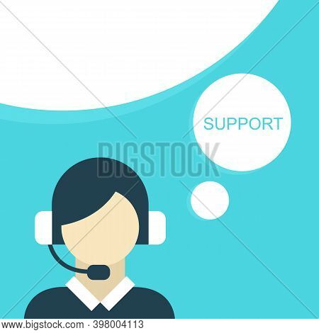 Customer Support Technician Concept. Flat Support Background With Female Icon. Service Concept. Vect