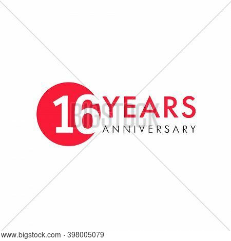 16 Th Anniversary Numbers. 16 Years Old Creative Congrats. Cute Congratulation Concept. Isolated Abs