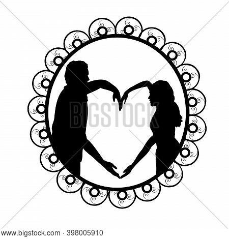 Silhouette In Frame Of Couple In Love Depicting Heart. Illustration Symbol Icon