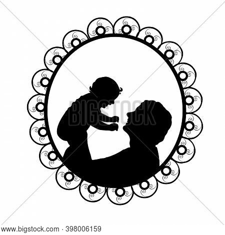 Silhouette In Frame Father Holding Newborn Baby In Air. Illustration Symbol Icon