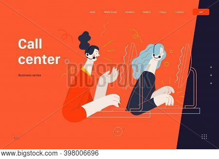 Business Topics -call Center, Web Template. Flat Style Modern Outlined Vector Concept Illustration.