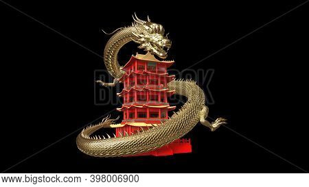 The Gold Chineses Dragon Move Around Red Chinese Pagoda With 3d Rendering Include Work Path For Alph