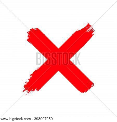 Re Wrong Cross Vector Symbol. Handwritten Vote Ink Sign Cross Mark