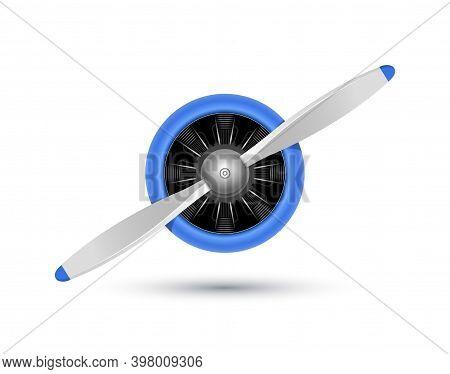 Plane Blade Propeller, Vector Airplane Wood Engine Logo Icon. Aircraft Propeller Fan