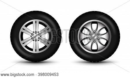 Car Wheel Tire 4x4 Side View. Car Tractor Tyre Vector Isolated Illustration