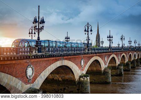 BORDEAUX, FRANCE - 26 October, 2020: Pont de Pierre - Stone Bridge - in Bordeaux, France