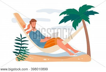 Concept Of Freelance Work, Job. Online Work. Workplace, Workspace On Vacation. Young Man Laying In H