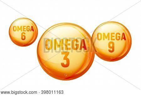 Omega 3 Fatty Vitamin Oil. Fat Acid Gold Capsule Fish Oil Omega 3, 6, 9