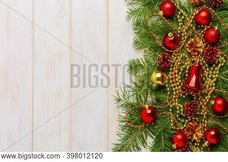 Christmas Background With Decorated Wreath