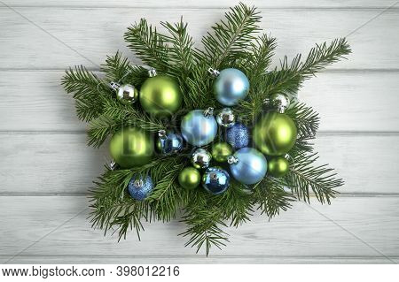 Christmas Decor Blue And Green Ornaments, Toned