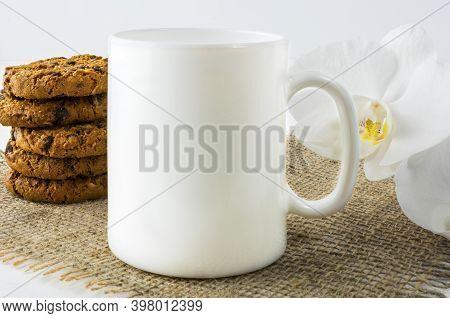 Coffee Mug Mockup With Cookies. White Mug Mockup. Mug Product Mockup. Styled Mockup. Product Mockup.