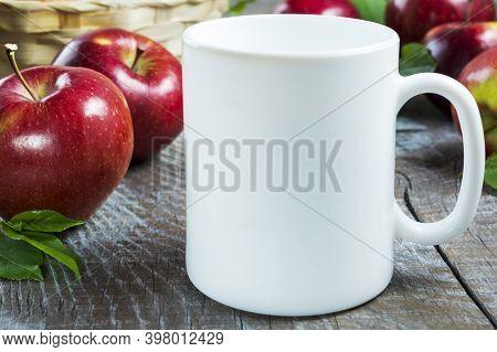 Coffee Mug Mockup With Red Apples. White Mug Mockup. Mug Product Mockup.