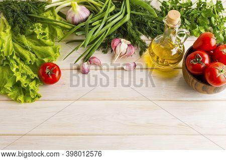 Fresh Vegetables And Olive Oil Background Copy Space. Ripe Vegetables. Fresh Vegetables. Healthy Eat