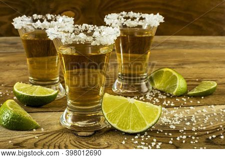 Mexican Tequila With Lime And Salt Close Up. Tequila. Tequila Shot