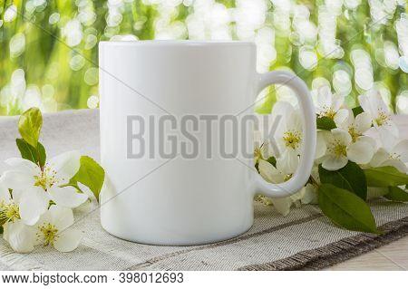 Mug Mockup With Spring Apple Blossom. Mug Mockup. Coffee Cup Template. Coffee Mug Template. Mug Temp