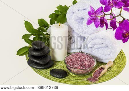 Spa Decor Concept With Pink Sea Salt . Spa. Spa Treatment. Spa Concept. Spa Massage