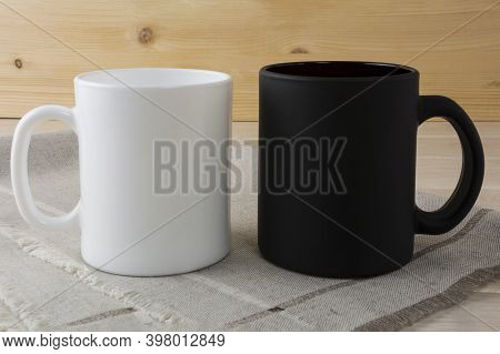 White And Black Coffee Mug Mockup On A Napkin. White Mug Mockup. Mug Product Mockup. Styled Mockup.