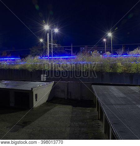 Chomutov, Czech Republic - November 03, 2020: Night In Centre Of City - Analog Noise Stylization