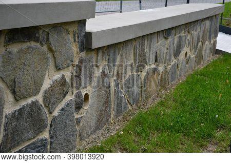 Paving Made Of Irregular Flat Dark Gray Stones Overgrown With Grass Irregular Cracked Look, Retainin