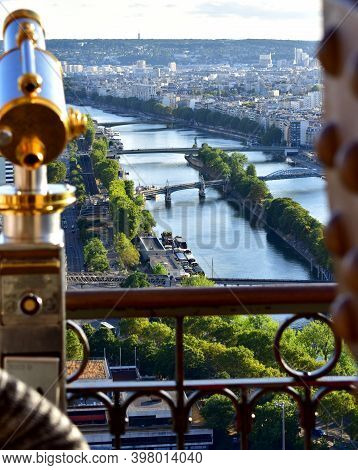 Paris, France. August 13, 2018. Parisian Cityscape With Spyglass From Eiffel Tower Viewpoint. View O