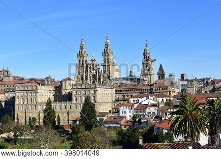 Santiago De Compostela, Spain. December 29, 2019. Santiago Cityscape From Alameda Park Hill. View Of