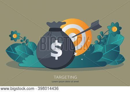 Targeting And Time Management Concept. Flat Vector Illustration