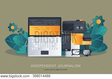 Journalism. Camera And Photos. Mass Media, Television, Interview, Breaking News, Press Conference Co