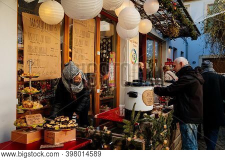 Stalls With Crafts Items. Christmas Market In Art Courtyard Passage Artistic Spaces In Neustadt Dist