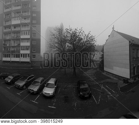 Chomutov, Czech Republic - November 07, 2020: Foggy Weather In Centre Of City - Analog Noise 400 Asa