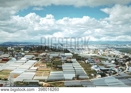 City Landscape View With Nice Sky And Clound At Dalat In Vietnam