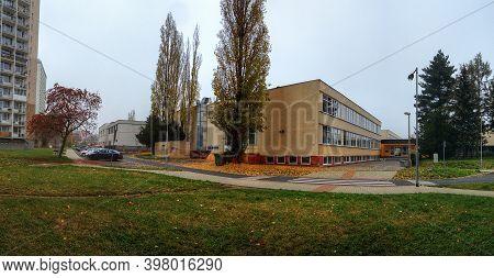 Chomutov, Czech Republic- November 11, 2020: School In Hornicka Street - Analog Noise
