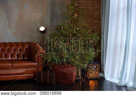 Christmas Room Interior. Stylish Interior Of Living Room With Christmas Fir Tree And Brown Sofa. Bea