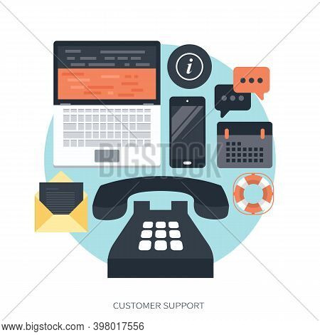 Live Technical Support Banner. Business Customer Care Service Concept. Icon For Contact Us, Support,