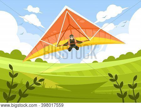 Smiling Man Flying On Hang-glider. Sportsman On Hang Gliding Competitions. Man Gliding On Delta-plan