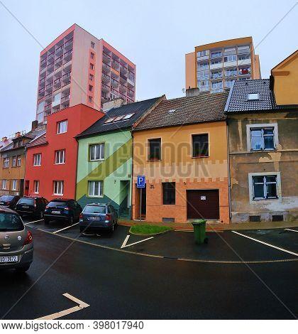 Chomutov, Czech Republic - November 15, 2020: Houses In Safarikova Street