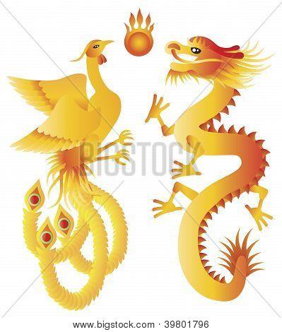 Dragon And Phoenix Chinese Symbols Illustration
