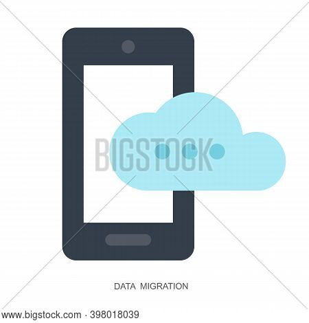 Mobile And Cloud Vector Icon In Flat Style Isolated On White Background